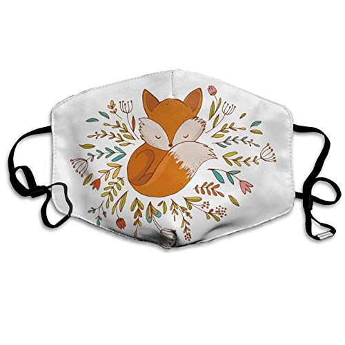 Fox Sleeping in A Floral Made Bed Circle Anti Dust Half Face Mouth Mask for Teens Men Women Lovers Dustproof with Adjustable Ear Loops