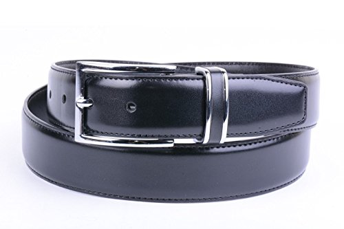 Alfani by Macy's Stitched Trim Silver Buckle Black Belt - For Men Macy