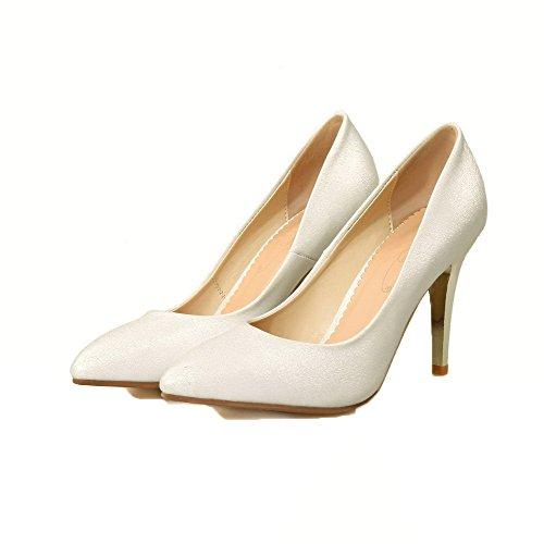 Luccichio Flats Chiusa Punta Tacco FBUIDD005765 Tirare AllhqFashion Donna Ballet A Spillo Bianco 5WHznwUw1R