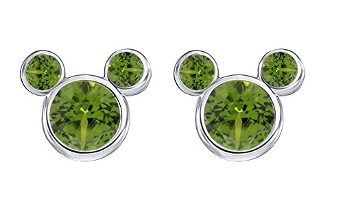 - Green Peridot August Birthstone Mickey Mouse Stud Earrings In 14k White Gold Over Sterling Silver
