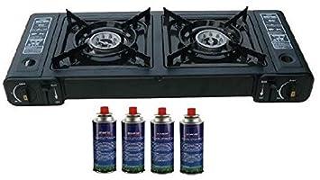 Estufa de gas portátil doble doble cocina con 4 botes de barbacoa al aire libre dos