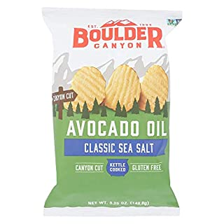 Boulder Canyon Avocado Oil Kettle Cooked Potato Chips, Sea Salt, Wavy Cut, 5.25 oz. Bag, 12 Count – Crunchy Chips Cooked in 100% Avocado Oil, Perfect for Dipping, Great for Lunches or Snacks