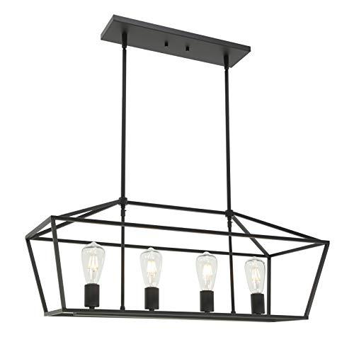 BONLICHT Kitchen Island Lighting 4 Lights in Matte Black Finish Farmhouse Chandelier Industrial Pendant Hanging Light…