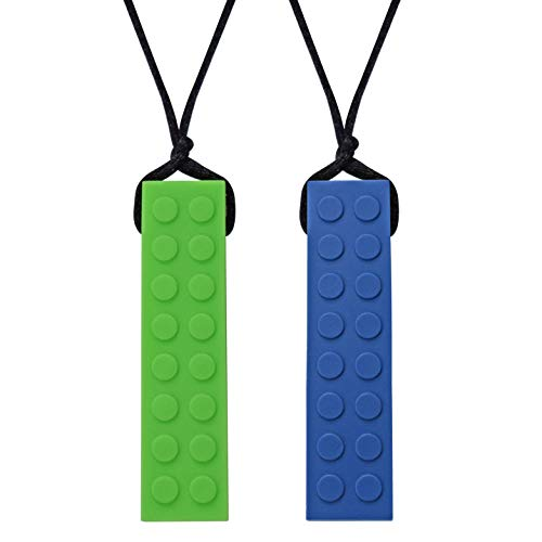 Munchables Chewelry - Chewable Sensory Chew Blockz Necklace (Navy & Green) by Munchables Chewelry