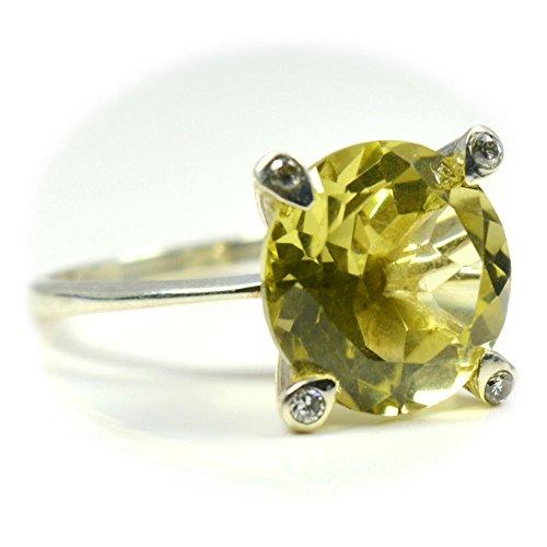 (CaratYogi Genuine Round Shape Lemon Quartz Ring Sterling Silver With CZ Stones Size 4-12 For Mens)