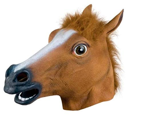 Terrible Toy Creative Latex Horse Head Mask Novelty Party Decoration Halloween Costume Party Mask Decor ( Color : Brown ) by Dalino