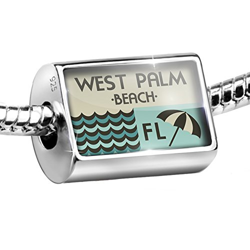 Sterling Silver Bead US Beaches vacation West Palm Beach Charm Fits All European - Beach U Palm West Fit
