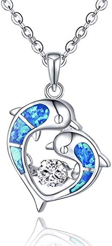 """20/"""" SILVER CHAIN. **NEW**GORGEOUS BLUE FIRE OPAL 925 SILVER JELLY FISH PENDANT"""
