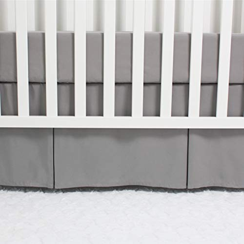 CaSaJa Classic Microfiber Crib Skirt with One Side Pleated, Soft Breathable Dust Ruffle Fits Standard Crib and Toddler Bed, Neutral Color for Baby Boys and Girls, 14 inches Drop, Grey from CaSaJa