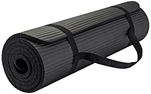 New Life Yoga Mat with Carrying Travel Bag and Strap, Thick NBR Multiple Use Exercise, Black