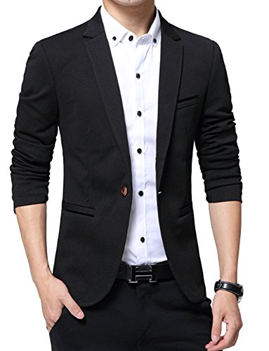 DAVID.ANN Men's Slim Fit Suits Casual One Button Flap Pockets Solid Blazer Jacket,Black,Small