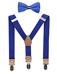 Bioterti Suspenders and Bow Tie For Toddler Kids Boys Adjustable With Strong Clips (Royal Blue)