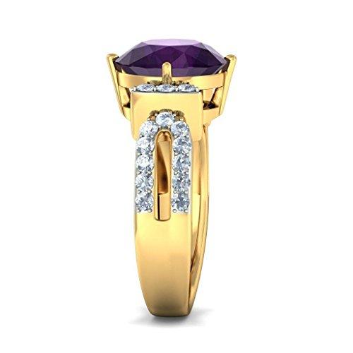 Or jaune 18K, 0,45carat Diamant Blanc (IJ | SI) Améthyste et diamant Bague