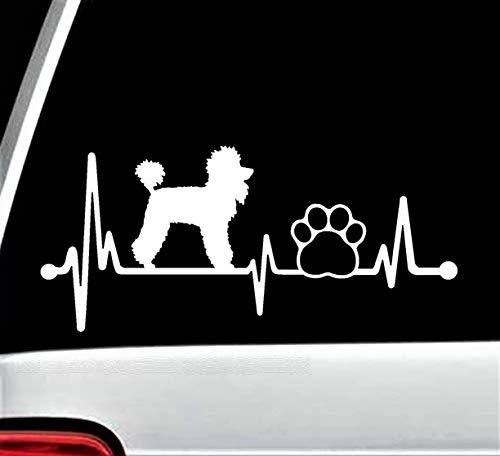 (Poodle Paw Heartbeat Lifeline Dog Decal Sticker for Car Window 8 Inch BG 144)