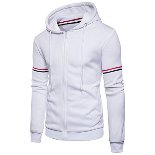 Hood Clothing White (Canserin Hot Sale! Men Jacket, Mens Autumn Winter Decorative Ribbon Leisure Jacket Casual Stand Collar Zipper Coat (M, White 1))