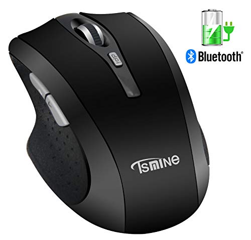 Silent Rechargeable Wireless Mouse - Tsmine Noiseless Mute Mouse,3 Adjustable DPI,6 Buttons for for Laptop, MacBook 2017 and Android OS Tablet, Black