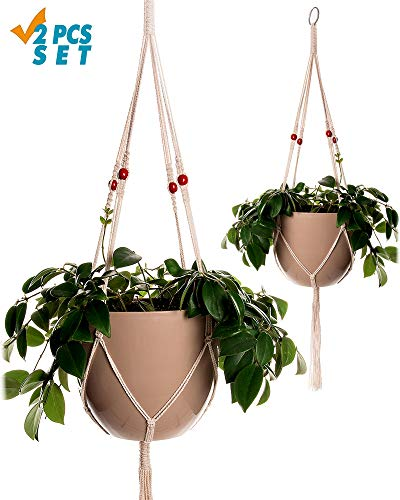 Plant Hanger Macrame 38in Pure Cotton Rope with Red Wooden Beads Indoor Outdoor Decoration Handmade Hanging Planter Basket Round & Square Flower Herbs Pots (no Pots no Plants) 4 Legs, 2 Pack by Kyznya