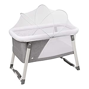 Travel Bassinet for Baby - Rocking & Sturdy Cradle - Includes Carry Case, Mosquito Net, Mattress, Sheets, Infant Crib, and Urine Pad - Portable Bed Side Sleeper for Newborn Babies by ComfyBumpy (2020)