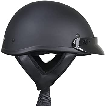 Outlaw T70 DOT Solid Flat Black Half Helmet - Large