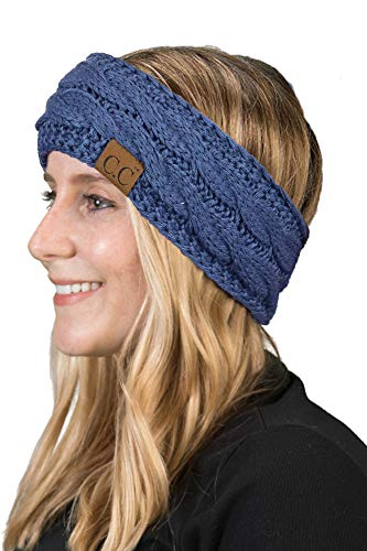 Long Scarf Knit Cable (Funky Junque Cable Knit Fuzzy Lined Head Wrap Headband Ear Warmer (Dark Denim))