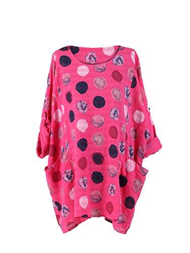 Algodón Fucsia Talla Mujer Por Grande Top Lunares Estilo Capas Italiano Lushstyleuk Camiseta IBqwPC