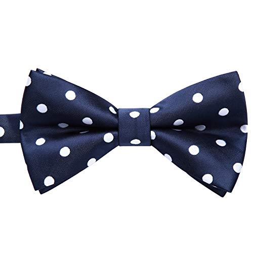 - Enlision Pre-Tied Bow Tie Polka Dot Adjustable Formal Bowties Neck Tie for Men & Boys Navy Blue/White