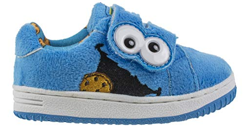 Sesame Street Cookie Monster Prewalker Baby Shoes with Strap, Blue, Toddler Size 6