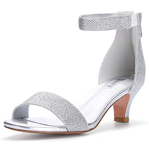 (IDIFU Women's IN2 Slim Fashion Stilettos Ankle Strap Open Toe Pump Heeled Sandals Kitten Heel Party Shoes with Zipper (9 M US, Silver Glitter))
