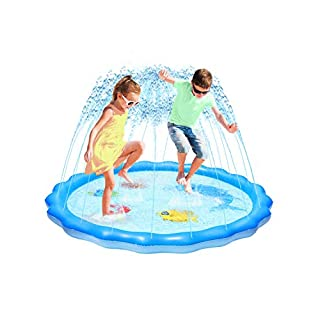 "Splash Pad Sprinkler for Kids, Toddler Pool for Learning, Inflatable Baby Wading Pool Fun Summer Outdoor Water Toys for Babies and Toddlers, Outdoor Kids Toys for Backyard (60"")"