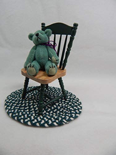 "Doll House Miniature 3"" x 4"" Wooden Green Chair #Z214C from Mini Bear Gems"