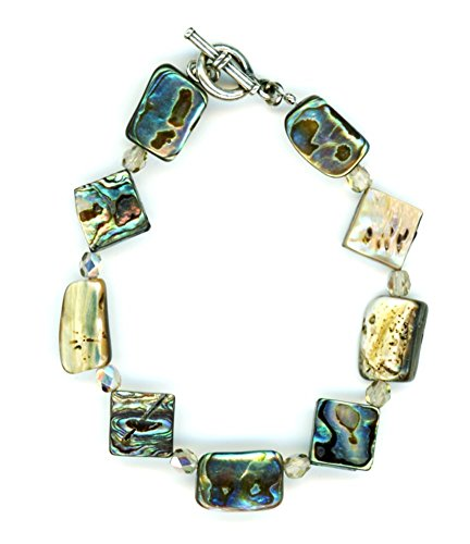 Sterling Silver Abalone Shell Beaded Toggle Bracelet 7 - Toggle Abalone