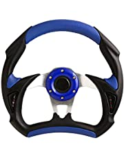 Universal de cuero de la PU Tipo de Auto Racing de Coche de la costura del volante del deporte azul para F1 JDM Gran