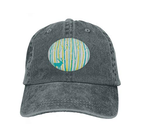 Xunulyn Adjustable Contrast Color Hip Hop Baseball Hats Birch Trees Forest Reindeer Teal Yellow Tree Background Vari Carbon