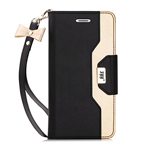 FYY Case for iPhone SE, Premium PU Leather Wallet Case with Cosmetic Mirror and Bow-knot Strap for Apple iPhone SE/5S/5 Black