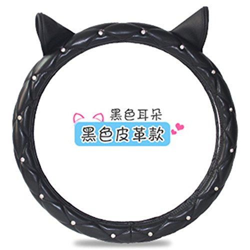 Rhinestone Cat ears Shape PU leather cute steering wheel covers for winter car accessories interior for girls women DIY (Black) ()