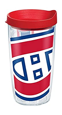 "Tervis 1105132 ""NHL Mon Canadiens Colos"" Tumbler with Red Lid, 16 oz, Clear"