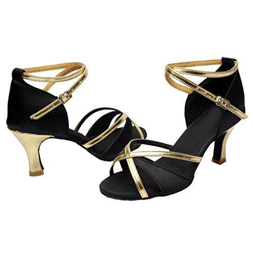 Nœud Féminin Optimal Satin Cheville Enveloppement Chaussures De Danse Latine Noir