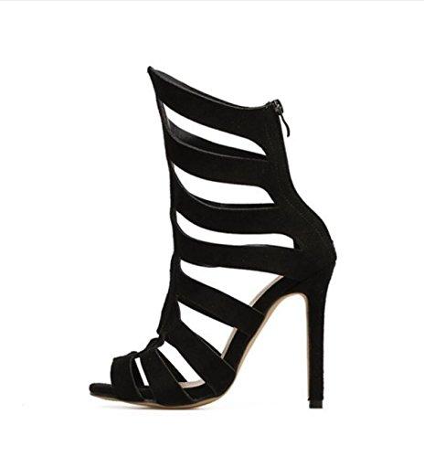 LINYI Stiletto Heels Striped High Heels Damenschuhe New Open Toe Sandalen  Kunstleder Black - associate-degree.de 62ac017197