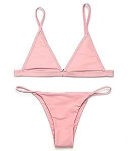 RELTANGL Women's 2 Piece Bikini Triangle Top Brazilian Bottom Swimwear Bikini Set, Bare Pink, Small (US 2-4)