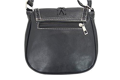 Boho Leather Bag Black a Classic Saddle Faux Bags Crossbody Chic Vintage rwIqUr7