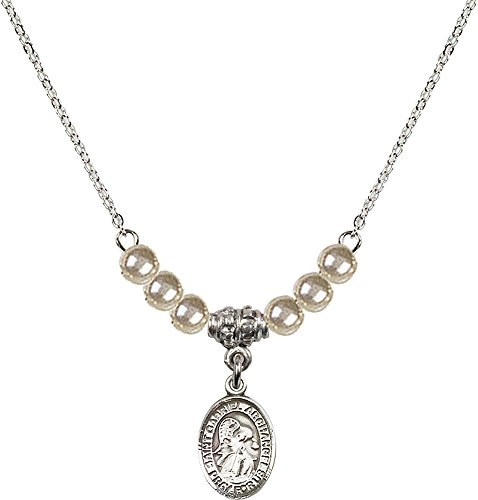 18-Inch Rhodium Plated Necklace with 4mm Faux-Pearl Beads and Sterling Silver Saint Gabriel the Archangel Charm. ()