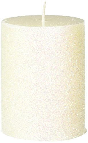 Glitter Pillar - Zest Candle Pillar Candle, 3 by 4-Inch, Metallic White Glitter