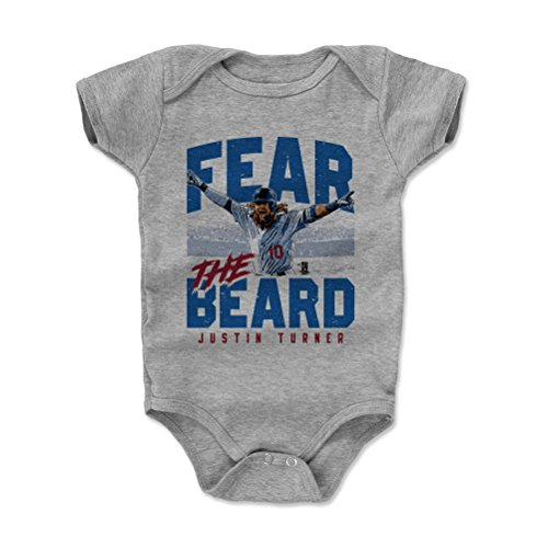 500 LEVEL Justin Turner Baby Clothes, Onesie, Creeper, Bodysuit 18-24 Months Heather Gray - Los Angeles Baseball Baby Clothes - Justin Turner Fear The Beard B