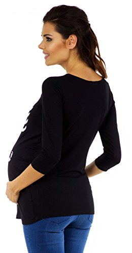 Zeta Ville - T-shirt Camiseta premamá estampado bebé esqueleto - para mujer 574c Negro