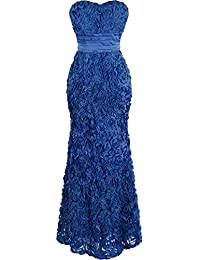 Angel-fashions Women's Strapless Floral Lace Mermaid Mesh Floor-length Wedding Dress