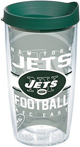 Tervis 1181964 NFL New York Jets Gridiron Tumbler with Wrap and Hunter Green Lid 16oz, Clear