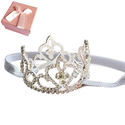 Elesa Miracle Baby Girl Infant Toddler Crystal Crown Tiara Headband Baby Photography Headband Props, for Little Girl -