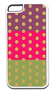 Colorblocked Stripes and Glitter PRINT Polka Dots (Purple, Pink, Green) - Case for the APPLE IPHONE 4 4s ONLY!!!-Hard White Plastic Outer Case
