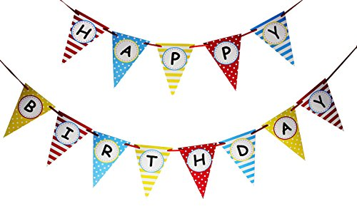 Langxun Happy Birthday Colorful Triangular Paper Banner | Birthday Party Decorations Streamers (Dr Seuss Signs)
