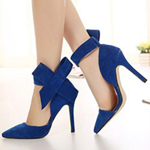 Heel D2C Elegant High Beauty Pointed Bow Pumps Velcro Toe Green Stiletto Women's TTzRExr